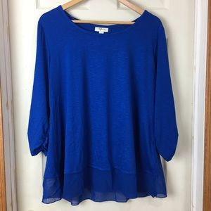 NWT Style & Co 1X blue top with sheer blue ruffle